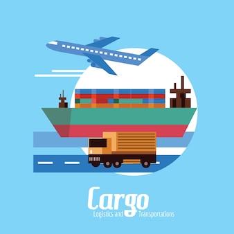 Carga, logística e transporte. elementos de design planos. ilustração vetorial