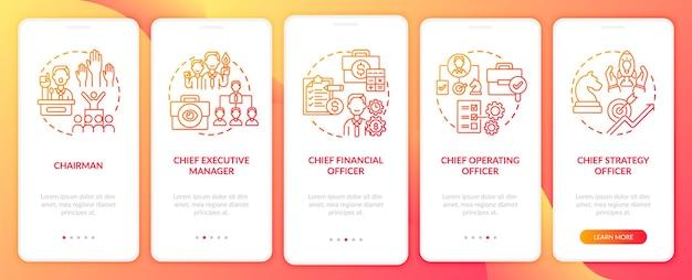 Cargos de alta gerência integrando conceitos de tela de página de aplicativo móvel. o diretor de operações apresenta instruções gráficas de 5 etapas. modelo de interface do usuário com ilustrações coloridas rgb
