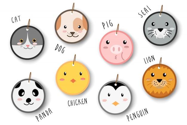 Caricatura animal bonito enfrenta etiquetas de preço de círculo