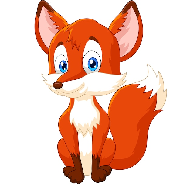 Caricatura, animal, raposa, posar