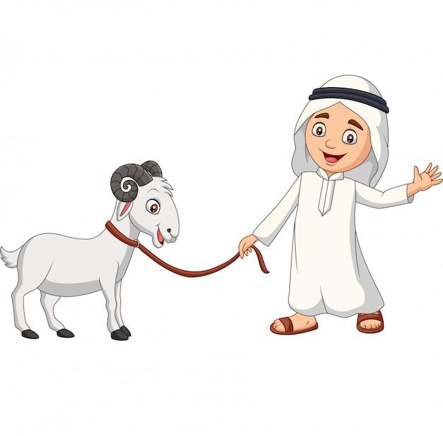 Caricatura, árabe, muçulmano, menino, com, um, cabra