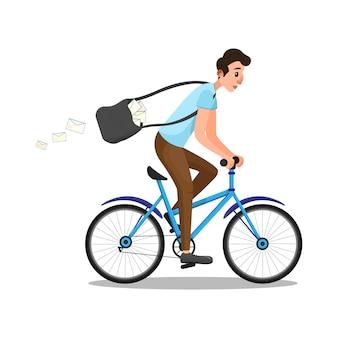 Caricatura, caucasiano, homem, em, carteiro, papel, montando, bicicleta
