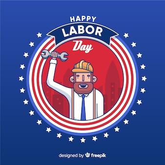 Caricatura, celebrando, americano, dia trabalho