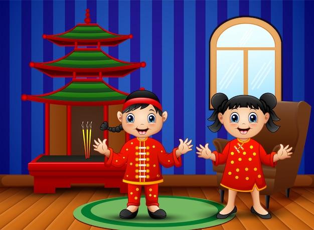 Caricatura, chinês, crianças, em, a, sala de estar