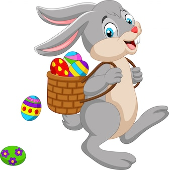 Caricatura, coelhinho da páscoa, carregar, cesta, de, um ovo páscoa