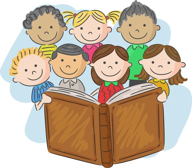 Caricatura, criança, livro leitura