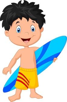 Caricatura, criança, segurando, surfboard