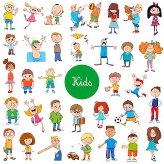 Caricatura, crianças, caráteres, grande, jogo