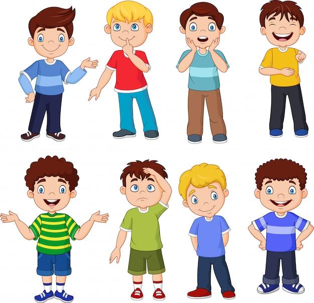 Caricatura, crianças, com, diferente, expressões