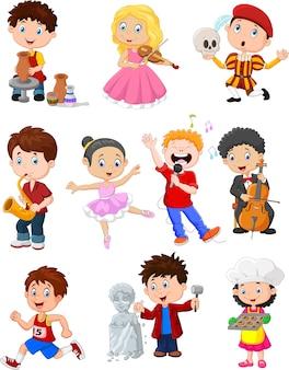 Caricatura, crianças, com, diferente, hobbies