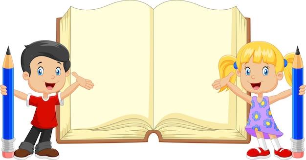 Caricatura, crianças, com, lápis, e, livro