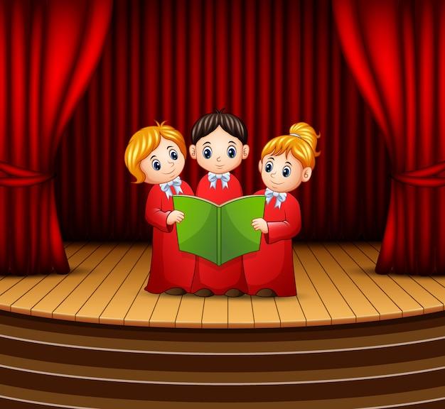 Caricatura, crianças, coro, executar, fase