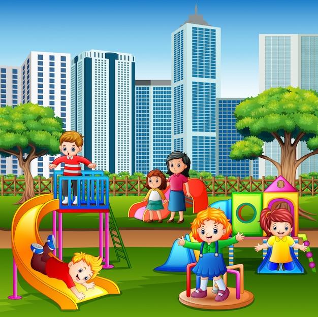 Caricatura, crianças, divertimento, junto, ligado, pátio recreio