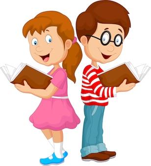 Caricatura, crianças, livro leitura