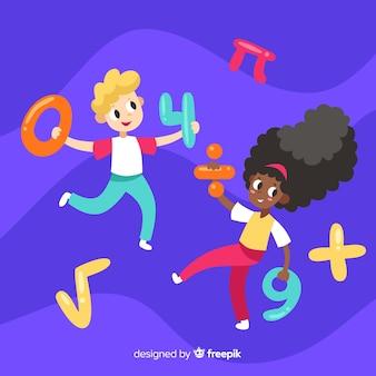Caricatura, crianças, matemática, conceito, fundo