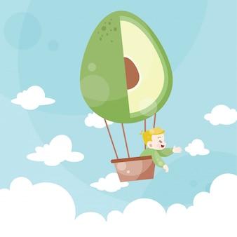 Caricatura, crianças, montando, um, balão ar quente, abacate