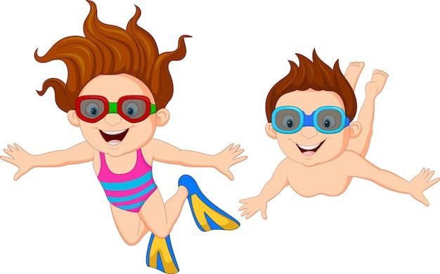 Caricatura, crianças, natação subaquático