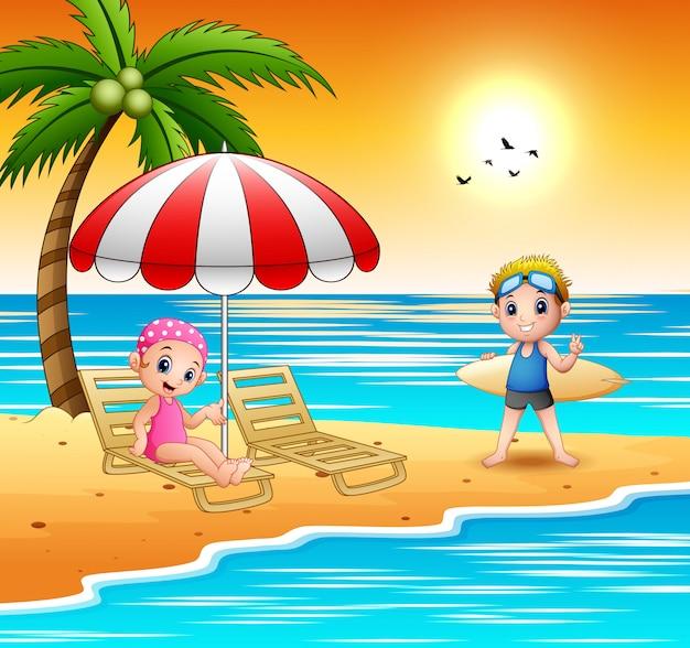 Caricatura, crianças, relaxe, praia