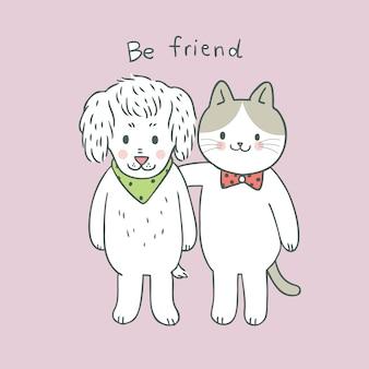 Caricatura, cute, doce, gato, e, cão