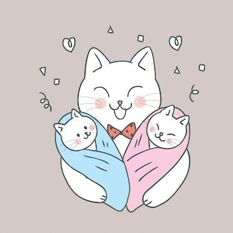 Caricatura, cute, gato, mamãe bebê