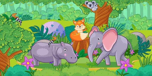 Caricatura, de, a, bonito, paisagem, com, diferente, animais