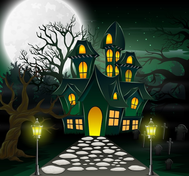 Caricatura, de, assombrado, casa, com, lua cheia, fundo