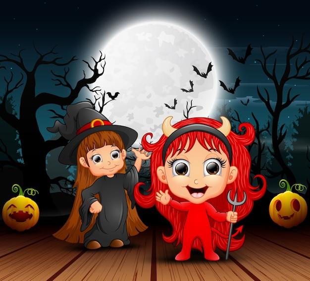 Caricatura, de, bruxa, e, diabo vermelho, em, a, noturna