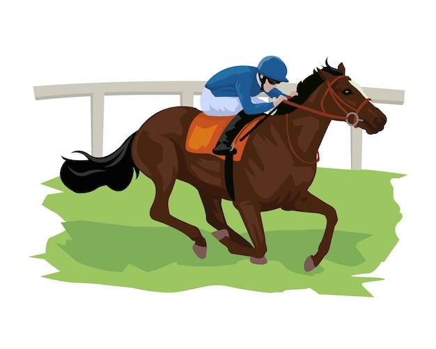 Caricatura, de, cavalo, com, jóquei, em, a, corrida cavalo