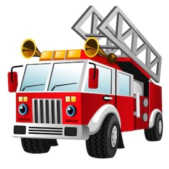 Caricatura, de, corpo bombeiros, caminhão