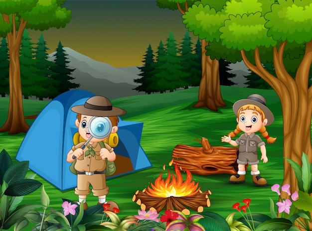 Caricatura, de, crianças, acampamento, saída, em, a, floresta