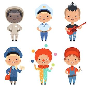 Caricatura, de, crianças, em, diferente, profissões