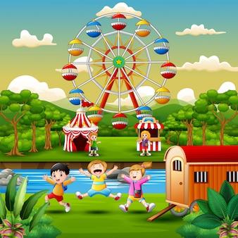 Caricatura, de, crianças, tendo divertimento, em, parque divertimento
