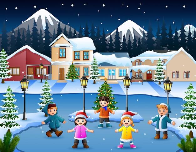 Caricatura, de, feliz, criança, tocando, em, a, nevando, vila