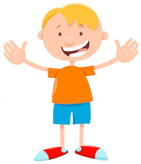 Caricatura, de, feliz, elementar, idade, menino miúdo