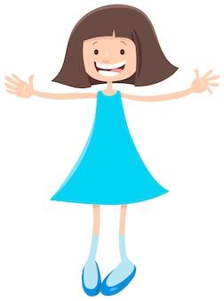 Caricatura, de, feliz, elementar, ou, adolescente, idade, menina