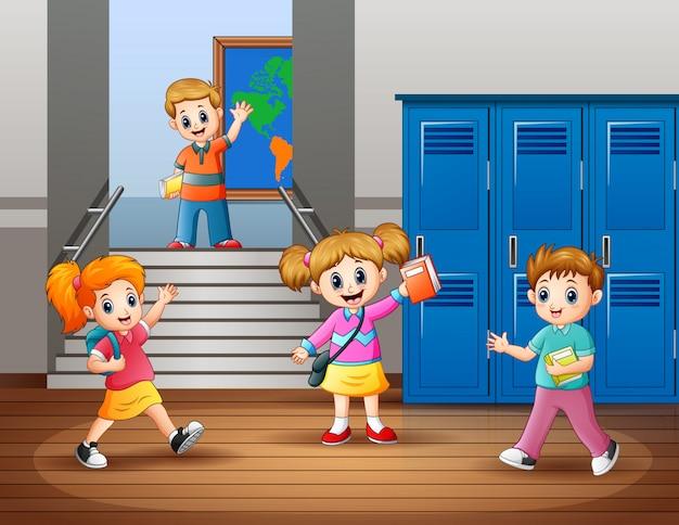 Caricatura, de, feliz, estudantes, em, a, escola