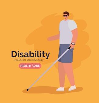 Caricatura de homem cego de deficiência com óculos e bengala com o tema diversidade de inclusão e cuidados de saúde.