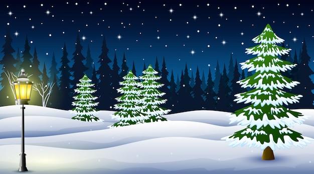 Caricatura, de, inverno, noite, fundo