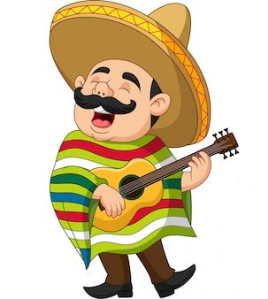 Caricatura, de, mexicano, homem, violão jogo, e, cantando