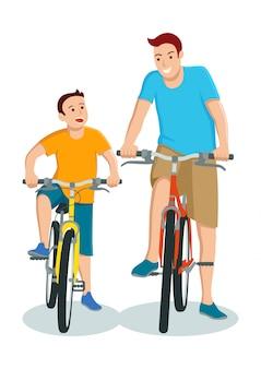 Caricatura, de, pai filho, bicicleta equitação