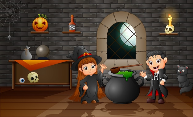 Caricatura, de, pequeno, bruxa, e, vampiro