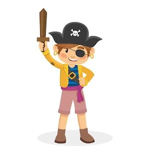 Caricatura, de, pirata crianças