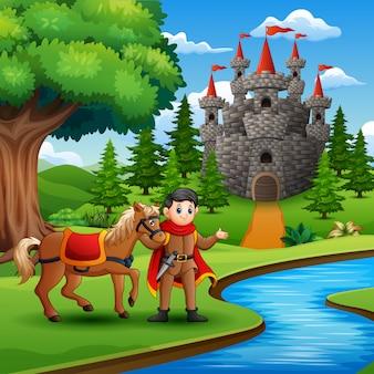 Caricatura, de, príncipe, segurando, um, cavalo, ligado, a, rio