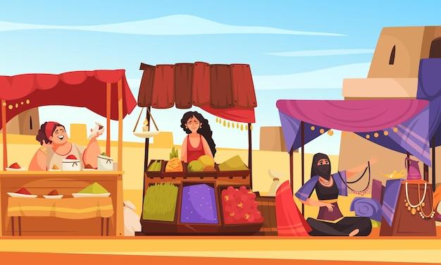 Caricatura de souk oriental com personagens femininas vendendo souvenirs e comida sob toldos