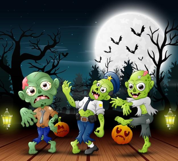 Caricatura, de, três, zombie, com, encher, lua, fundo, à noite
