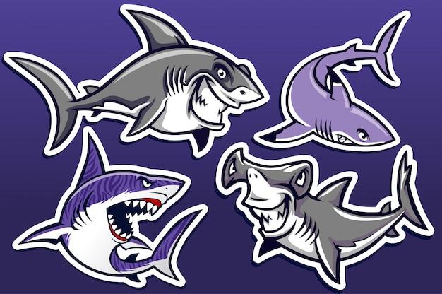Caricatura, de, tubarão, pacote coleção