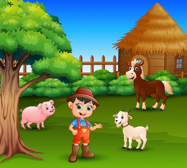 Caricatura, de, um, agricultor, em, seu, fazenda, com, um, grupo, de, animais fazenda
