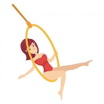 Caricatura, de, um, menina, fazendo, acrobático, estilo, em, circo, arena