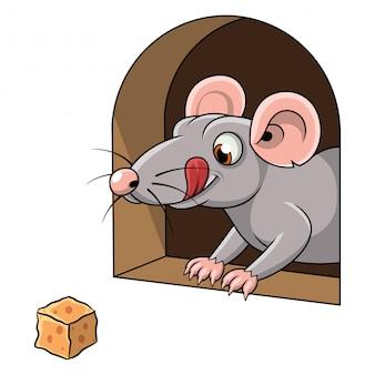 Caricatura, de, um, rato, e, queijo, em, buraco