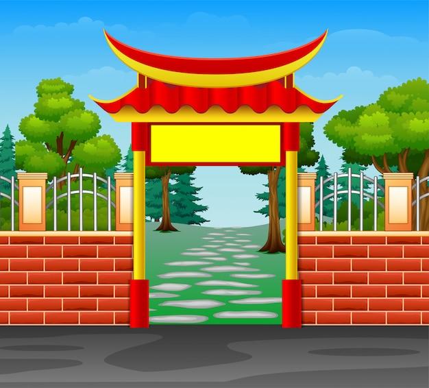 Caricatura, de, vermelho, porta entrada, para, a, floresta